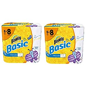 Bounty Basic Big Roll Select-a-Size Print Paper Towels, 95 sheets, 6 rolls (2 Pack)