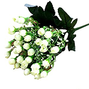 Shangwelluk Artificial Flowers, Real Touch Flowers Silk Artificial Rose Flowers Home Decorations for Bridal Wedding Bouquet, Birthday Flowers Bunch Hotel Party Garden Floral Decor (White) 111