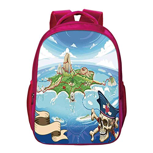(Island Map Printing Backpack,Aerial View Fantasy Pirate Cove Island with Crossbones and Captain Skull Figure for Kids Girls,11.8
