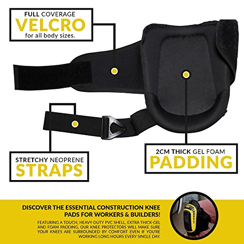 HEAVY DUTY CONSTRUCTION KNEE PADS - Thick Foam + Gel Pad for Extra Comfort | Durable Reinforced Stitching | Non-Slip & Adjustable For Cleaning, Yard, Flooring, Professional Work | Includes Mesh Bag by Epifany Products (Image #5)