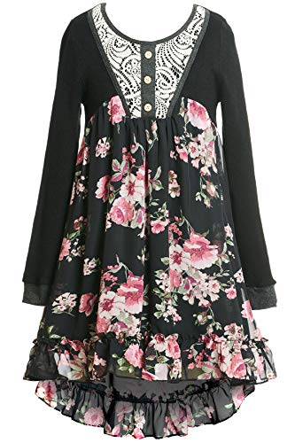 Truly Me, Soft Knit Top & Beautiful Floral Chiffon Bottom Dress (Many Options), 7-16 (16, Black Multi) for $<!--$38.99-->
