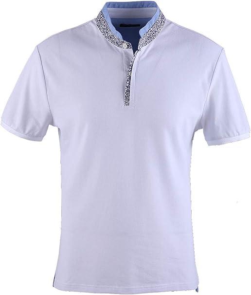 0119Voray Ga Polo Hombre algodón Granito Cuello Mao Vivo Estampado ...