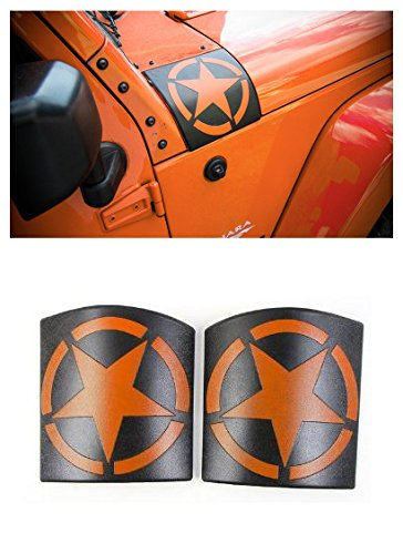 FMtoppeak 5 Colors Car Exterior Decoration 5 Stars Hoods Angle Wrap Cover ABS for Jeep Wrangler 2007-2017 (Orange)