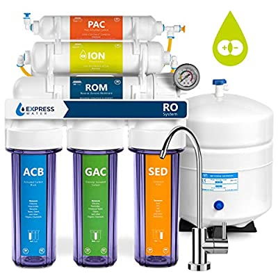Express Water Deionization Reverse Osmosis Filtration System – 6 Stage RO DI Water Filter with Faucet and Tank – Distilled Pure – Under Sink Home Softener – 100 GPD with Clear Housing & Pressure Gauge