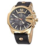 CURREN Original Men's Sports Waterproof Calendar Leather Strap Wrist Watch Good Quality 8176 Gold Black