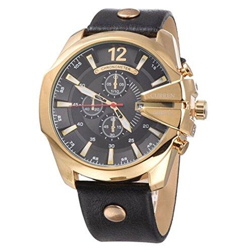 CURREN Original Mens Sports Waterproof Calendar Leather Strap Wrist Watch 8176 Gold Black