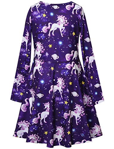 Girls Unicorn Dresses Long Sleeve Kids Starry Sky Casual Cotton Dress Outfits by Jxstar (Image #2)