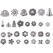 Bingcute 200Pcs Assorted Metal Tibetan Silver Bead Caps ,Bali Style Beads Making For Jewelry (Antique Silver)