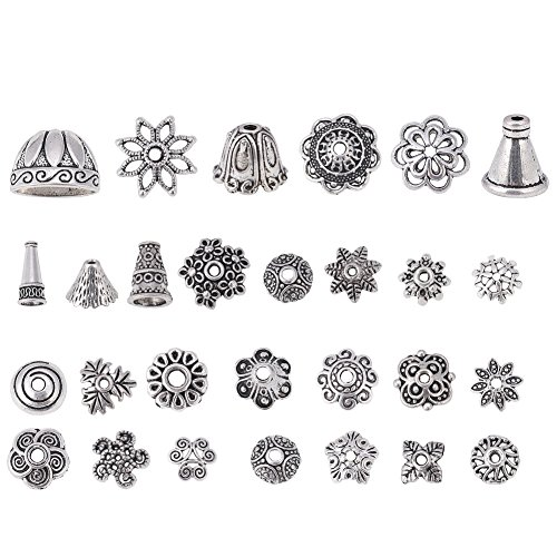 Design Bali Bead - Bingcute 200Pcs Assorted Metal Tibetan Silver Bead Caps for Jewelry Making Supplies,Bali Style Beads Making for Jewelry (Antique Silver)