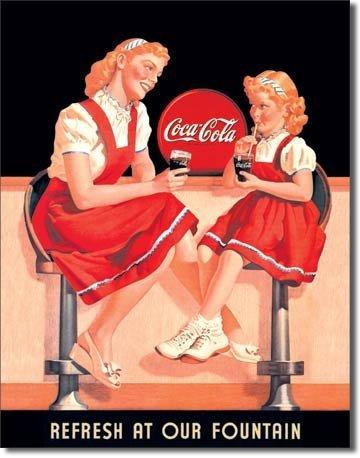 Coke Refresh Fountain (Coca Cola Coke Refresh at our Fountain Tin Sign 13 x 16in)