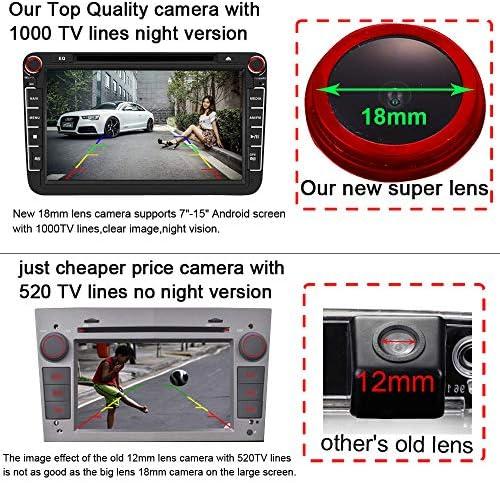 【Nuovo Rosso】Obiettivo 18mm di alta qualit/à impugnatura bagagliaio Fotocamera retromarcia per Skoda Karog Kodiag//Porsche Cayenne//Audi A1 Q2 Q2L A5 Q5L Q3 A6L//TAYRON//Passat//Sagitar//SUV T-Cross//Bora