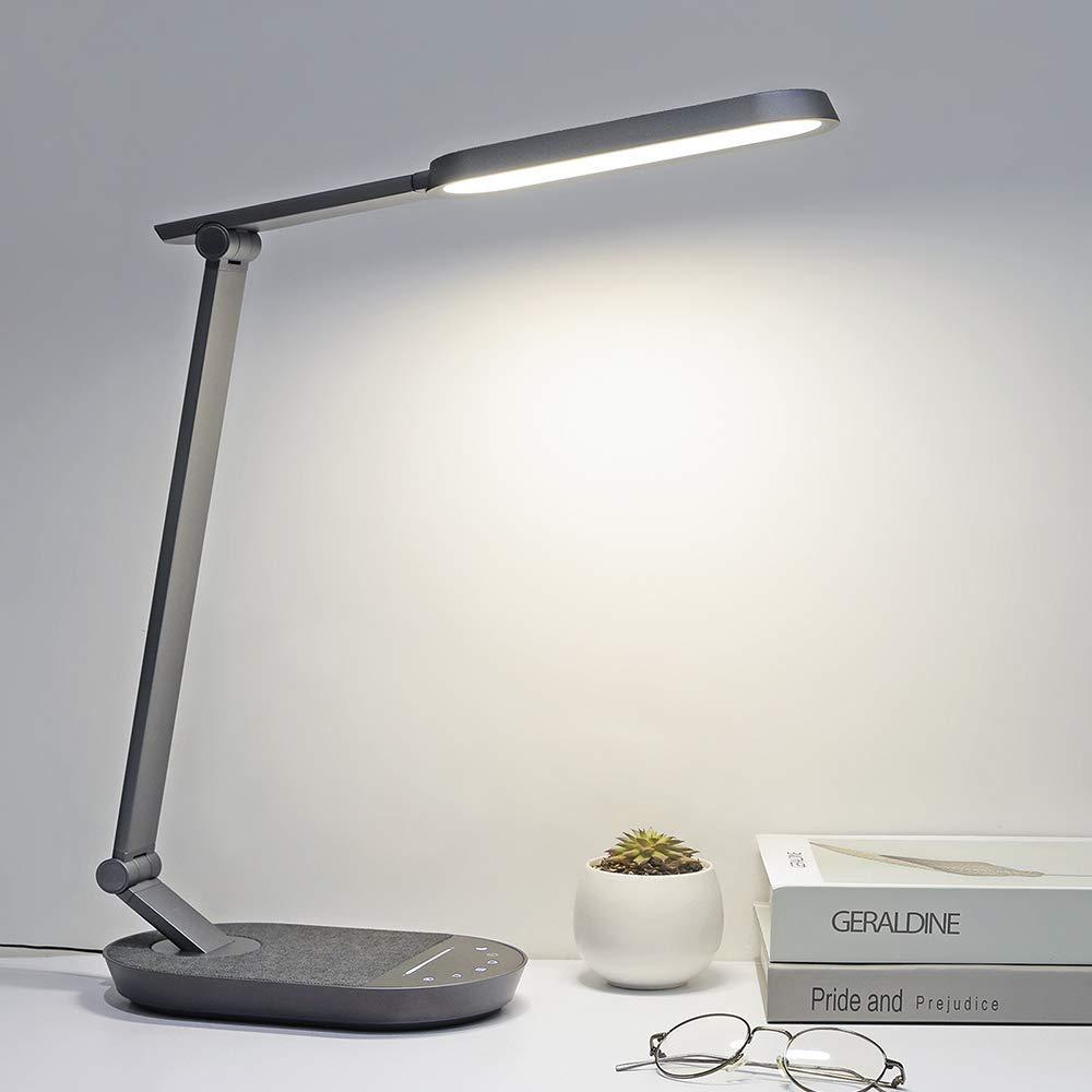 control t/áctil L/ámpara de escritorio LED TaoTronics l/ámpara de oficina regulable con puerto USB de 5 V//2 A temporizador l/ámpara de mesa 5 modos de color brillo ajustable luz nocturna