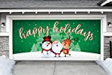 Outdoor Christmas Holiday Garage Door Banner Cover Mural Décoration - Christmas Characters Happy Holidays Winter - Outdoor Christmas Holiday Garage Door Banner Décor Sign 7'x16'