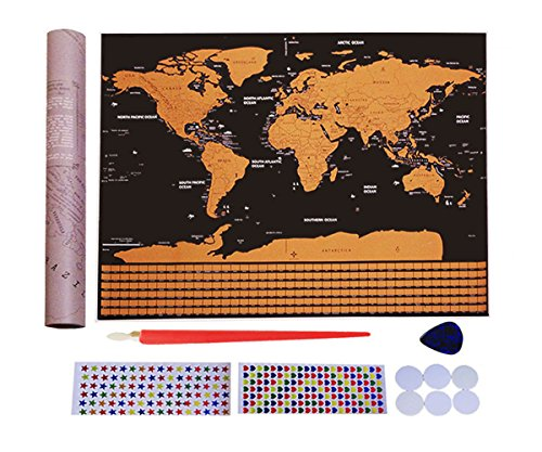 Scratch Off World Map Poster with Country Flags and US States lines-Best Present for Travelers-Personalized Travel Tracker Map32.5