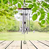 "punada Premium Wind Chimes Outdoor, 22"" Amazing Grace Wind Chimes for Outdoor Indoor Patio Garden Balcony, Beautiful Outdoor Decor (Silver)"