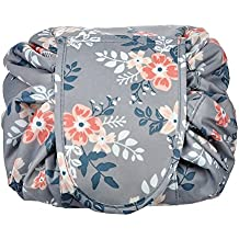 Portable Drawstring Cosmetic Bag Large Capacity Lazy Travel Makeup Pouch magic Toiletry Bag for Womens Girls,Light Gray