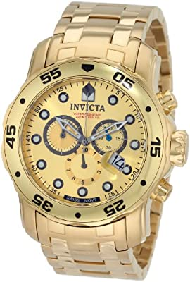 Invicta Men's 0074 Pro Diver Chronograph 18k Gold Plated Stainless Steel Watch