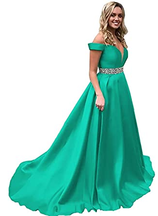 Homdor Off Shoulder Prom Dresses Long Beaded Satin Formal Evening Ball Gowns  for Women 2019 Aqua c14242b24