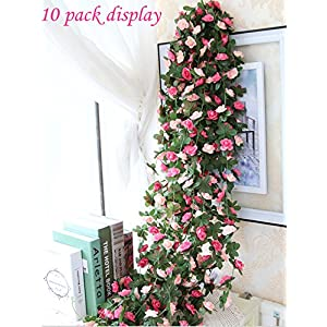 Babycola's Mum 2 Pack Fake Rose Vine Flowers Plants Artificial Flower Home Hotel Office Wedding Party Garden Craft Art Decor (Pink) 2