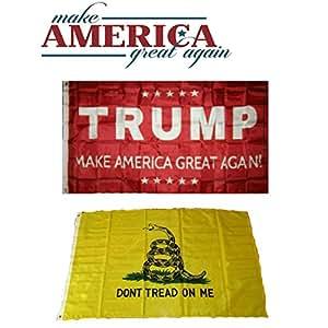 3x 5Donald Trump rojo & Gadsden don 't Tread On Me al por mayor bandera Juego 3' x5'