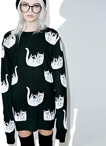 セーター メンズ レディース ユニセックス 大きいサイズ ニット 猫 ネコ 総柄 FALLING FOR NERMAL KNIT SWEATER RIP N DIP RND1811