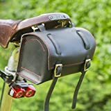 London Craftwork Classic Square Saddle/Handlebar Bicycle Bag Genuine Leather Black Red Stitching for Bike Tools