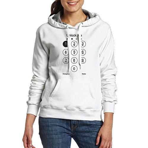 Kawerfgd Unlock Me Men's Cool Long Sleeve Hooded Sweatshirt M White
