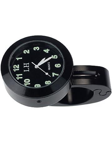 SODIAL(R) Accesorios para motocicletas Manillar Impermeable Reloj de pulsera Reloj (Negro)
