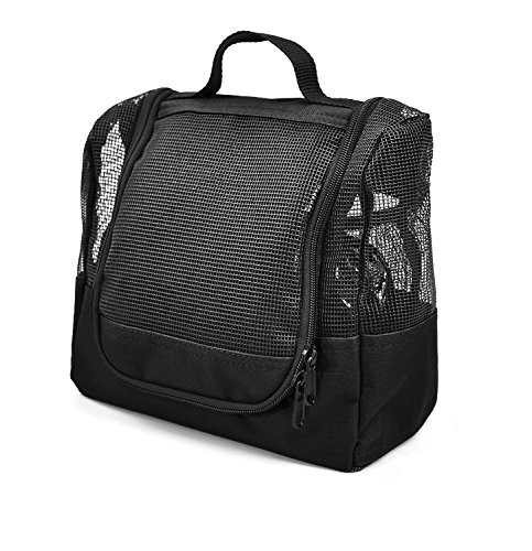 Shower Caddy Case Organizer Tote Nero Black to Hang in the Shower plus Free Toiletries Bag - by The Fine Living Co USA by The Fine Living Company
