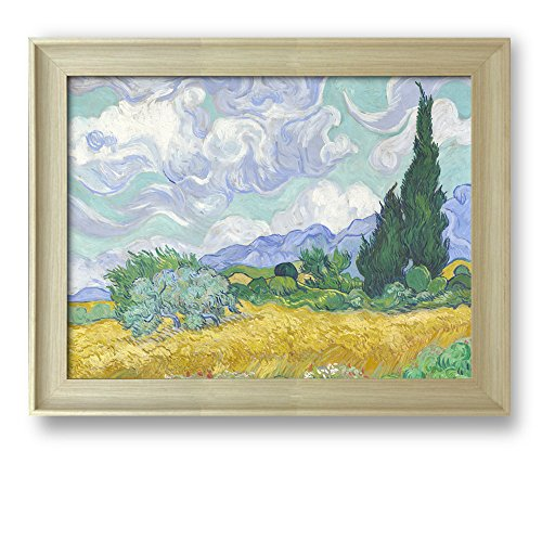 A Wheatfield with Cypresses by Vincent Van Gogh Framed Art Print Famous Painting Wall Decor Natural Wood Finish Frame