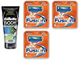 Gillette Body Non Foaming Shave Gel for Men, 5.9 Fl Oz + Fusion Refill Blades 8 Ct (3 Pack) + FREE Luxury Luffa Loofah Bath Sponge On A Rope, Color May Vary