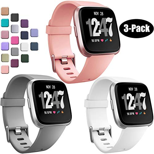 Wepro Bands Compatible with Fitbit Versa SmartWatch, Watch Replacement Band for Women Men Kids, Small, 3 Pack, Gray, Peach, White