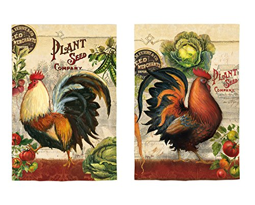 Evergreen Farm Rooster Suede Garden Flag, 12.5 x 18 inches