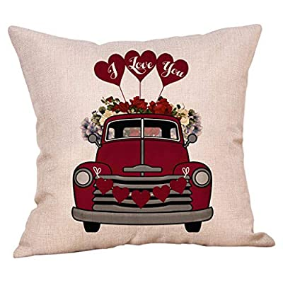 Valentines Throw Pillow Covers 18x18 Inches Flower and Truck Decorations Cotton Linen Cushion Case Valentine Gift or Home Decor for Couch Sofa Car Office: Musical Instruments