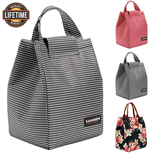 Insulated Lunch Bags for Women Teens Girls Tall Cute Lunch Tote for Meal Prep Large Bento Lunch Cooler Bag Reusable Lunch Box Black and White Stripes