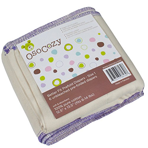 OsoCozy Unbleached Better Fit Prefold Cloth Diapers - Small Infant 4x8x4 - 6 pk (6-16 lbs)