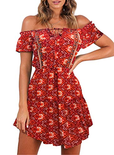 (ZESICA Women's Summer Floral Printed Off The Shoulder Elastic Waist Asymmetric Hem Beach Mini Dress)