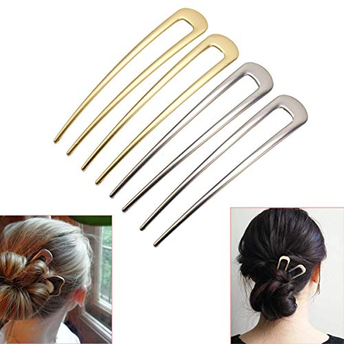 Luckycivia 4 Pcs U-Shape Hairpins, Simple Metal U Shaped Hair Pin, Vintage Hair Stick, Hairstyle Chignon for Women Girls