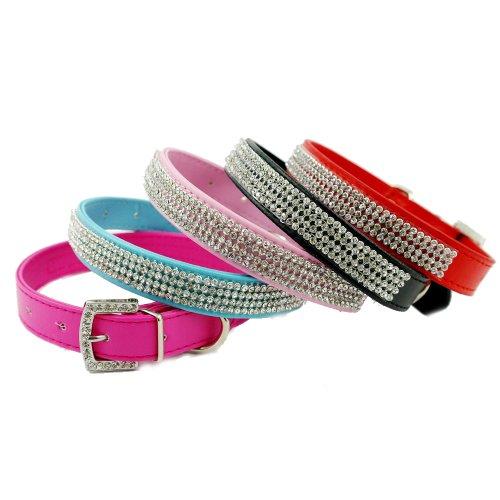 Namsan Medium Dogs Puppy Pets Leather rhinestone Collars Necklaces -Medium -Blue