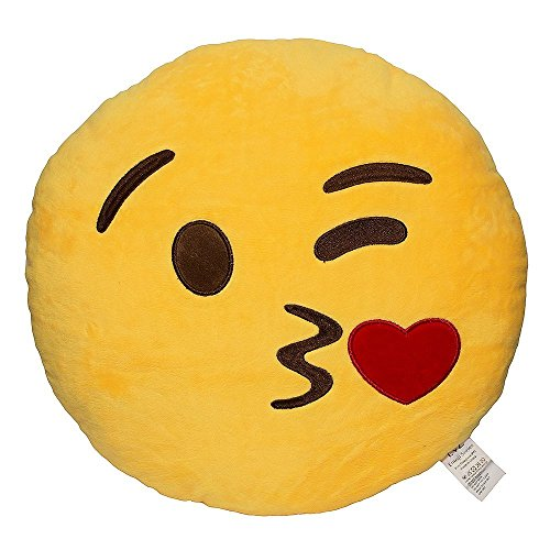 Emoji Blow Kiss Yellow Round Pillow