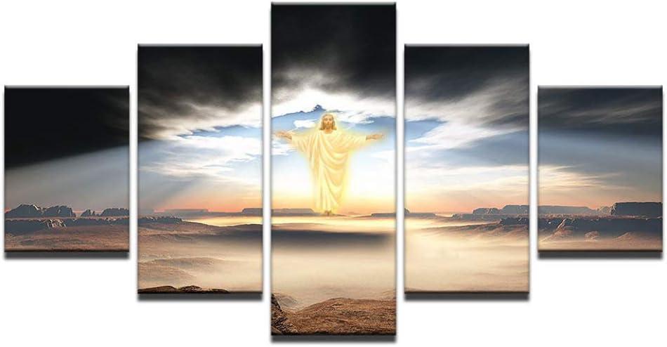 Impression sur Toile 5 Pi/èces Set,Personnalis/é Vintage Creative J/ésus Christ Photos Impression sur Toile Affiches De Grande Taille pour La Maison Peinture Murale Peinture D/écoration Salon,S
