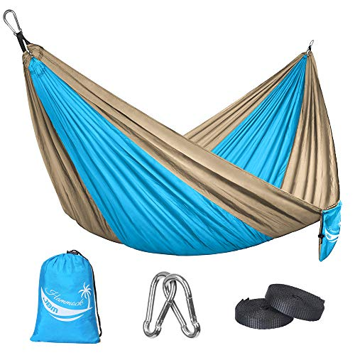 JBM Hammock Single Double Camping Lightweight Portable Parachute Hammock Outdoor Hiking Travel Backpacking - Nylon Hammock Swing - Support 400lbs with Nylon Ropes and Steel Carabiners (Blue & Yellow)
