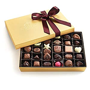 Godiva Chocolatier Assorted Chocolate Gold Gift Box with Wine Ribbon, Great for Gifting, Premium Chocolates, Birthday Chocolate, Gifts for Her, 36 pc