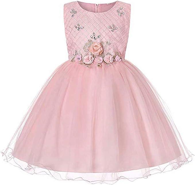 Amazon.com: Vestido de fiesta para niñas, de encaje con ...