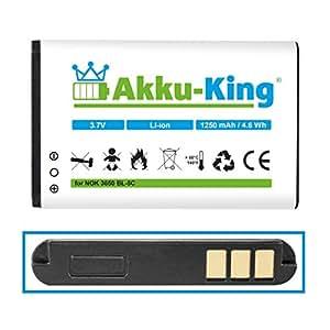 Akku-King batería para Akku für Nokia 3650 6030 6085 6230 6630 E50 E60 N70 N71 N72 Hyundai MB-D125 Olympia Viva 1, 2- como BL-5C, BL-5CA, BL-5CB - Li-Ion 1250mAh