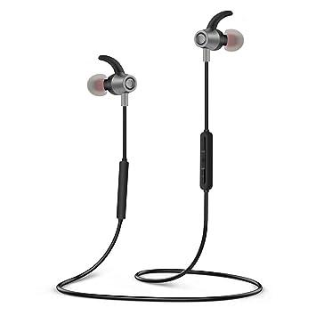 Auriculares Bluetooth V4.2, SYOSIN Auriculares Inalambricos Impermeables IPX6 HiFi Cascos Deportivos In-Ear Estéreo Inalámbricos con Mic, 12 Horas de Juego: ...