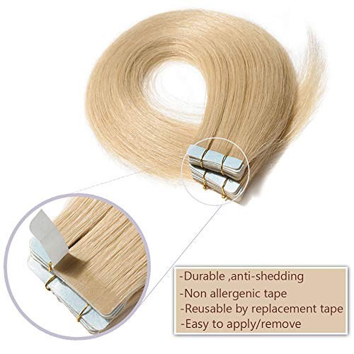 d5faf6e3c8085 Tape In Hair Extensions Human Hair Invisible Seamless Skin Weft Double Side  Tape Remy Human Hair