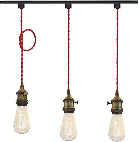 STGLIGHTING 3-Pack H-Type Track Pendant Light 3.94 Weave Rope Cord Rotary Switch On Off Button Iron Retro Style Lighting Industrial Factory Pendant Lamp Bulbs Not Included