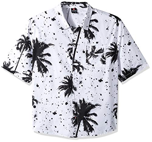 Southpole Men's Big and Tall All Over Print Woven Shirt, White Palm 6XB (Shirt Sleeve Woven)