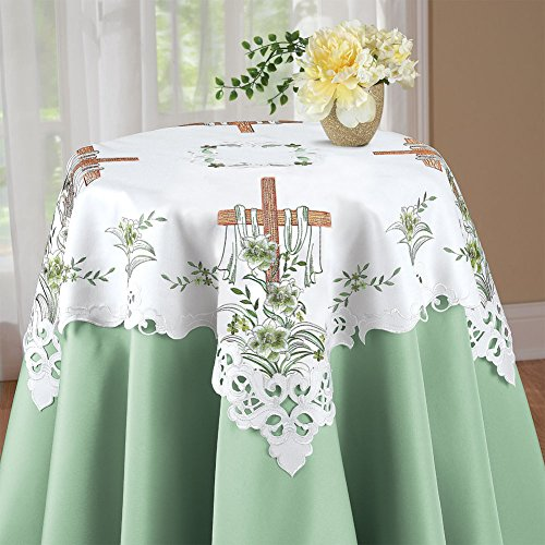 Embroidered Cross Easter Linens Square